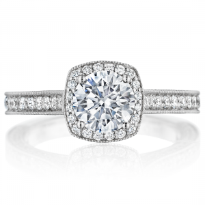 Milgrain Cushion Halo 3-Sided Engagement Ring