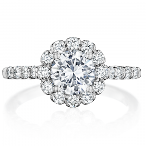 Scalloped Round Halo Engagement Ring